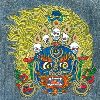 Drawing of a protector by an inmate who follows the Buddhist path.